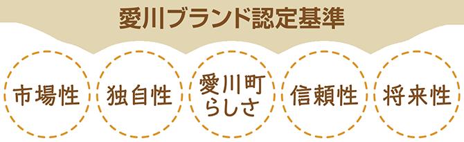 愛川ブランド認定基準 市場性 独自性 愛川町らしさ 信頼性 将来性